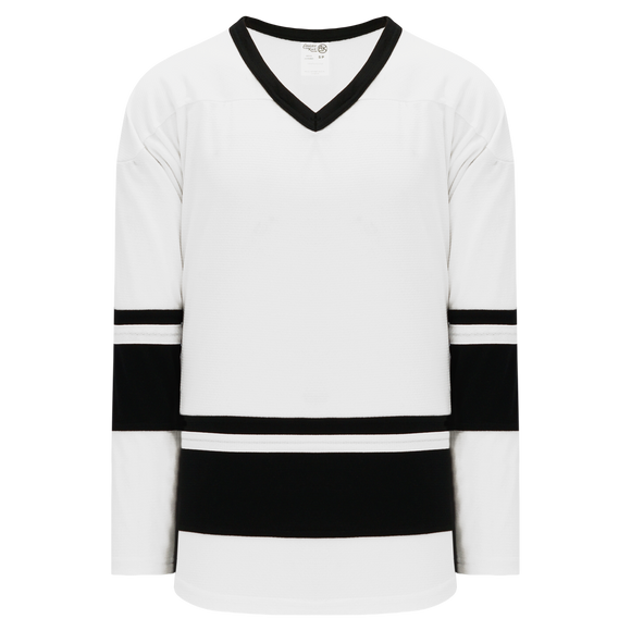 Athletic Knit (AK) H6400A-222 Adult White/Black League Hockey Jersey