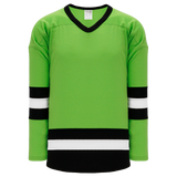 Athletic Knit (AK) H6500A-107 Adult Lime Green/Black/White League Hockey Jersey
