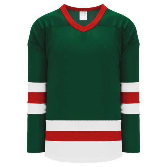 Athletic Knit (AK) H6500 Dark Green/White/Red League Hockey Jersey