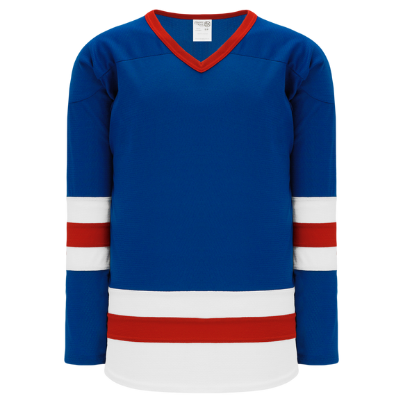 Athletic Knit (AK) H6500 Royal Blue/White/Red League Hockey Jersey