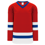 Athletic Knit (AK) H6500-344 Red/White/Royal Blue League Hockey Jersey