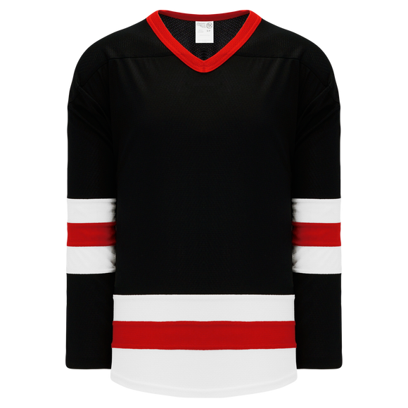 Athletic Knit (AK) H6500A-348 Adult Black/White/Red League Hockey Jersey