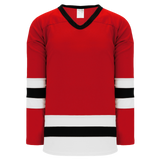 Athletic Knit (AK) H6500-414 Red/White/Black League Hockey Jersey