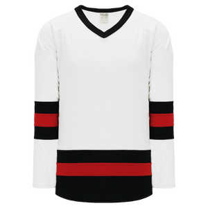 Athletic Knit (AK) H6500A-415 Adult White/Black/Red League Hockey Jersey