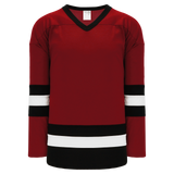 Athletic Knit (AK) H6500A-426 Adult AV Red/Black/White League Hockey Jersey