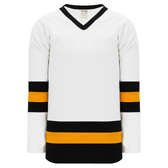 Athletic Knit (AK) H6500A-436 Adult White/Black/Gold League Hockey Jersey
