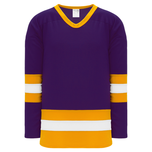 Athletic Knit (AK) H6500A-441 Adult Purple/Gold/White League Hockey Jersey