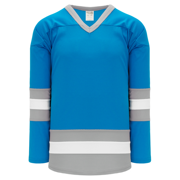Athletic Knit (AK) H6500-459 Pro Blue/Grey/White League Hockey Jersey