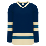 Athletic Knit (AK) H6500-464 Navy/Sand/Capital Blue League Hockey Jersey