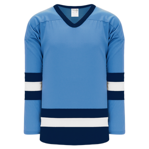 Athletic Knit (AK) H6500A-475 Adult Sky Blue/Navy/White League Hockey Jersey