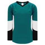 Athletic Knit (AK) H6600-457 Pacific Teal/Black/White League Hockey Jersey