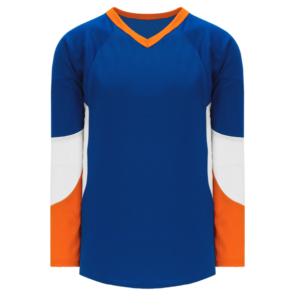 Athletic Knit (AK) H6600A-482 Adult Royal Blue/Orange/White League Hockey Jersey