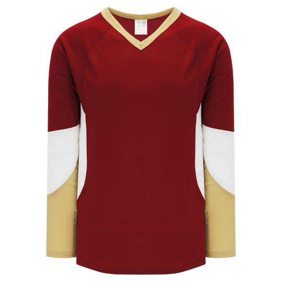 Athletic Knit (AK) H6600A-542 Adult AV Red/Vegas Gold/White League Hockey Jersey