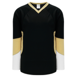 Athletic Knit (AK) H6600A-628 Adult Black/White/Vegas Gold League Hockey Jersey