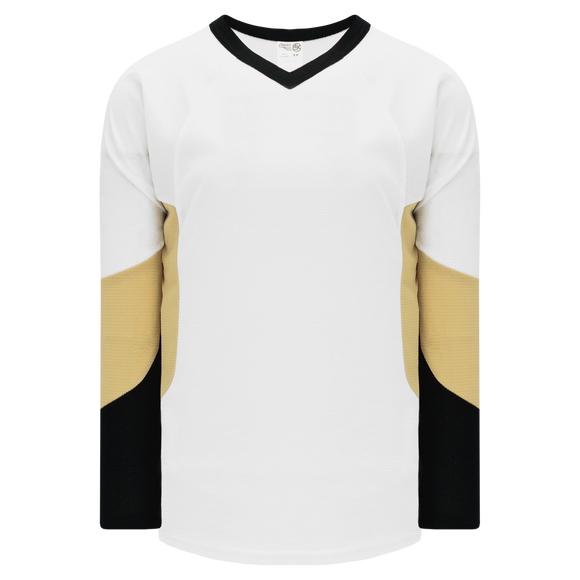 Athletic Knit (AK) H6600 White/Black/Vegas Gold League Hockey Jersey
