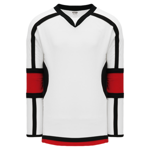 Athletic Knit (AK) H7000-415 White/Black/Red Select Hockey Jersey