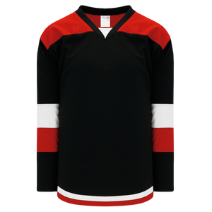 Athletic Knit (AK) H7400A-348 Adult Black/Red Select Hockey Jersey