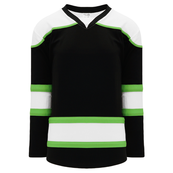 Athletic Knit (AK) H7500A-247 Adult Black/White/Lime Green Select Hockey Jersey