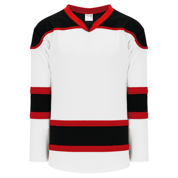 Athletic Knit (AK) H7500 White/Black/Red Select Hockey Jersey