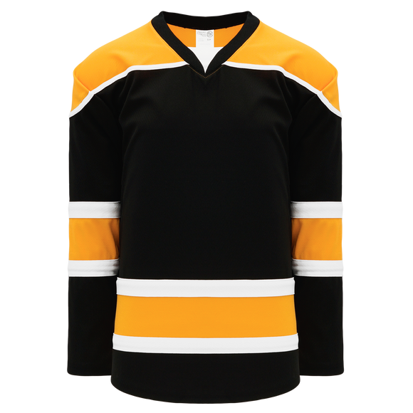Athletic Knit (AK) H7500A-437 Adult Black/Gold/White Select Hockey Jersey