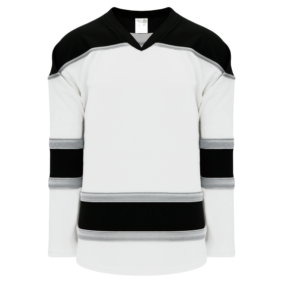 Athletic Knit (AK) H7500A-627 Adult White/Black/Grey Select Hockey Jersey