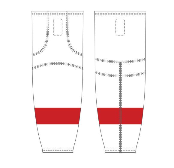 Athletic Knit (AK) HS2100 Detroit Red Wings White Mesh Cut & Sew Ice Hockey Socks - PSH Sports