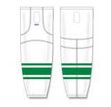 Athletic Knit (AK) HS2100 White/Kelly Green Mesh Cut & Sew Ice Hockey Socks - PSH Sports