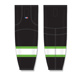 Athletic Knit (AK) HS2100 Black/Lime Green/White Mesh Cut & Sew Ice Hockey Socks - PSH Sports