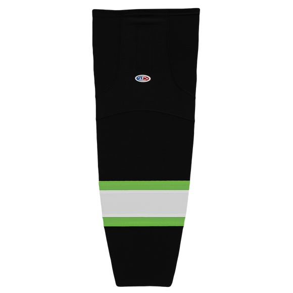 Athletic Knit (AK) HS2100 Black/Lime Green/White Mesh Cut & Sew Ice Hockey Socks