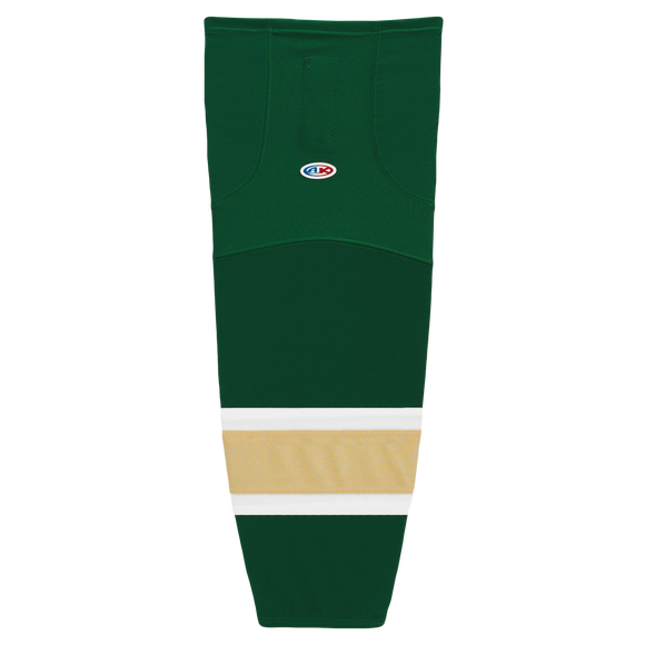 Athletic Knit (AK) HS2100-262 Dark Green/White/Vegas Gold Mesh Cut & Sew Ice Hockey Socks