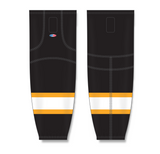 Athletic Knit (AK) HS2100 Boston Bruins Black Mesh Cut & Sew Ice Hockey Socks - PSH Sports