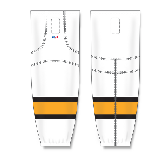 Athletic Knit (AK) HS2100 Boston Bruins White Mesh Cut & Sew Ice Hockey Socks - PSH Sports