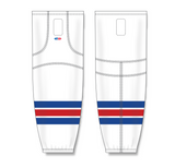 Athletic Knit (AK) HS2100 New York Rangers White Mesh Cut & Sew Ice Hockey Socks - PSH Sports