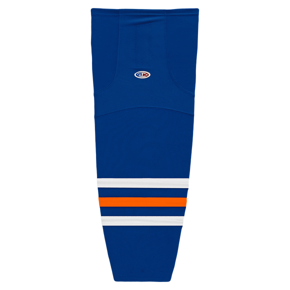 Athletic Knit (AK) HS2100-320 Edmonton Oilers Royal Blue Mesh Cut & Sew Ice Hockey Socks
