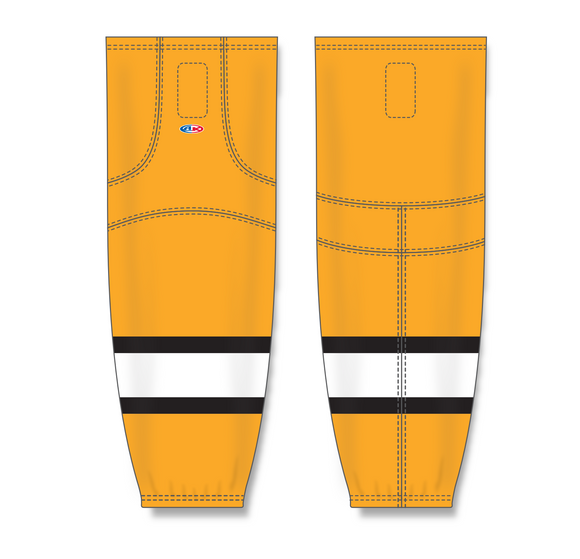 Athletic Knit (AK) HS2100 Gold/White/Black Mesh Cut & Sew Ice Hockey Socks - PSH Sports