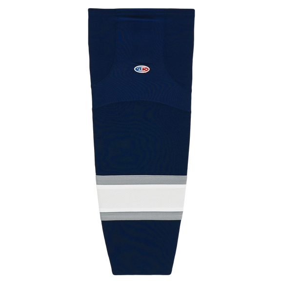 Athletic Knit (AK) HS2100-370 2002 Edmonton Oilers Third Navy Mesh Cut & Sew Ice Hockey Socks