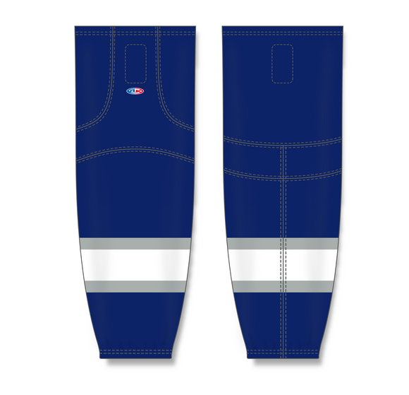 Athletic Knit (AK) HS2100 2002 Edmonton Oilers Third Navy Mesh Cut & Sew Ice Hockey Socks - PSH Sports