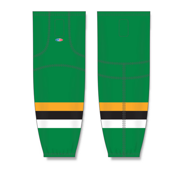 Athletic Knit (AK) HS2100  Minnesota North Stars Kelly Green with Black Stripe Mesh Cut & Sew Ice Hockey Socks - PSH Sports