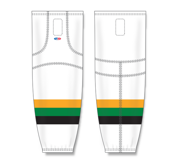 Athletic Knit (AK) HS2100 Minnesota North Stars White with Black Stripe Mesh Cut & Sew Ice Hockey Socks - PSH Sports