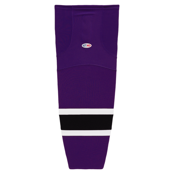 Athletic Knit (AK) HS2100-438 Purple/White/Black Mesh Cut & Sew Ice Hockey Socks