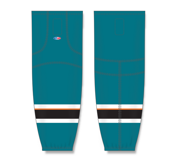 Athletic Knit (AK) HS2100 2013 San Jose Sharks Pacific Teal Mesh Cut & Sew Ice Hockey Socks - PSH Sports