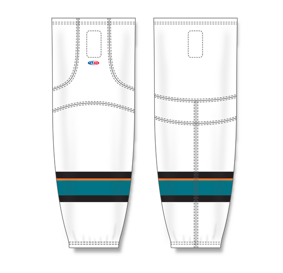 Athletic Knit (AK) HS2100 2013 San Jose Sharks White Mesh Cut & Sew Ice Hockey Socks - PSH Sports
