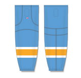 Athletic Knit (AK) HS2100 Sky Blue/White/Gold Mesh Cut & Sew Ice Hockey Socks - PSH Sports