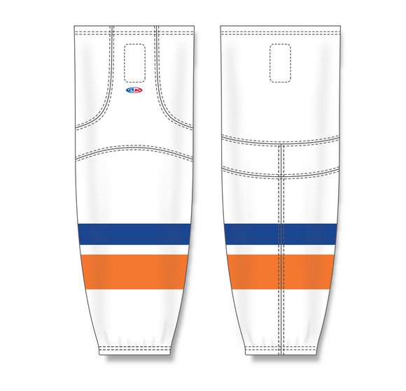 Athletic Knit (AK) HS2100 2010 New York Islanders White Mesh Cut & Sew Ice Hockey Socks - PSH Sports