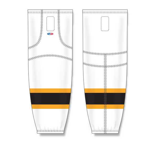 Athletic Knit (AK) HS2100 2007 Boston Bruins White Mesh Cut & Sew Ice Hockey Socks - PSH Sports