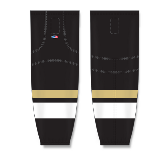Athletic Knit (AK) HS2100 New Pittsburgh Penguins Third Black Mesh Cut & Sew Ice Hockey Socks - PSH Sports