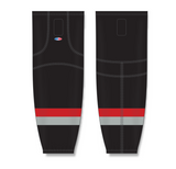 Athletic Knit (AK) HS2100 Carolina Hurricanes Third Black Mesh Cut & Sew Ice Hockey Socks - PSH Sports