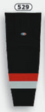 Athletic Knit (AK) HS2100-529 Carolina Hurricanes Third Black Mesh Cut & Sew Ice Hockey Socks