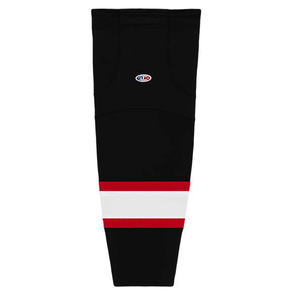 Athletic Knit (AK) HS2100 Ottawa Senators Black with White Stripe Mesh Cut & Sew Ice Hockey Socks