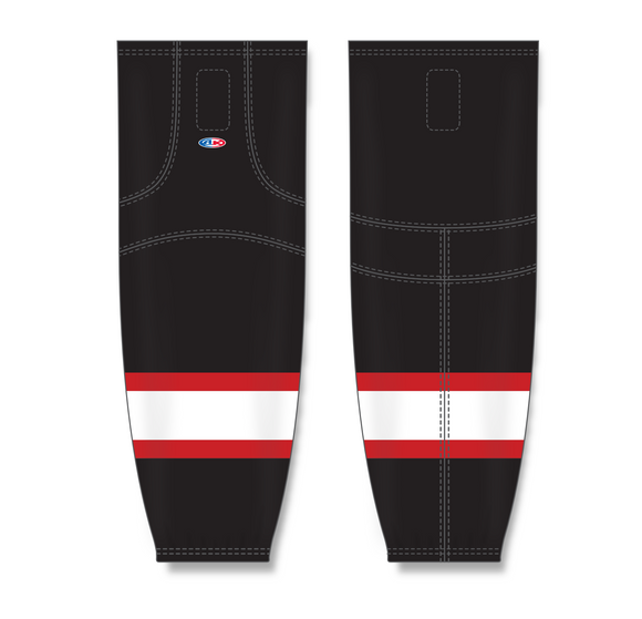 Athletic Knit (AK) HS2100 Ottawa Senators Black with White Stripe Mesh Cut & Sew Ice Hockey Socks - PSH Sports